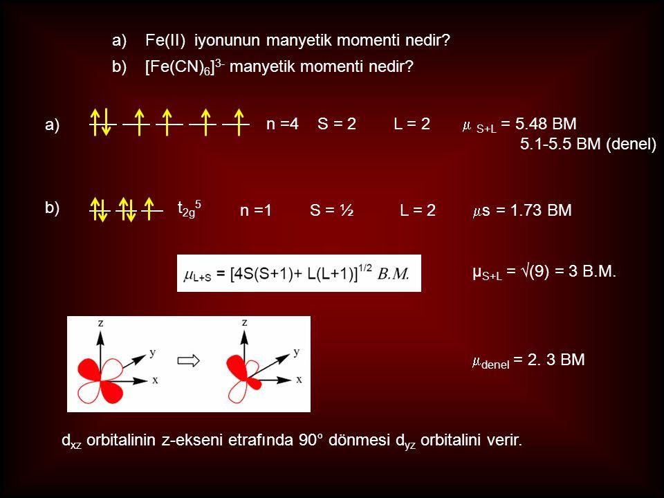 a)Fe(II) iyonunun manyetik momenti nedir? b)[Fe(CN) 6 ] 3- manyetik momenti nedir? a) n =4 S = 2 L = 2  S+L = 5.48 BM 5.1-5.5 BM (denel) b)t 2g 5 n =