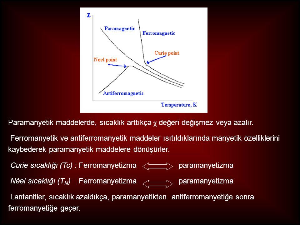 Paramanyetik maddelerde, sıcaklık arttıkça χ değeri değişmez veya azalır. Ferromanyetik ve antiferromanyetik maddeler ısıtıldıklarında manyetik özelli