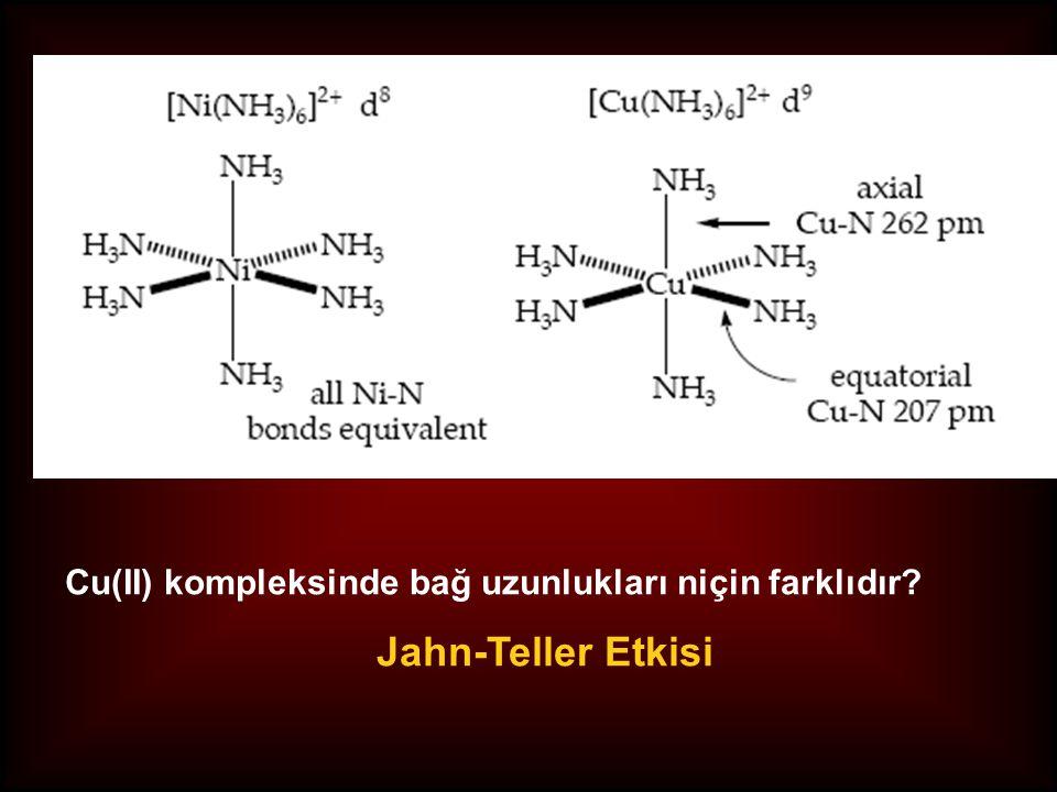 z doğrultusunda itilme z-doğrultusunda çekilme Tetragonal Bozulma yassılaşma uzama Jahn-Teller Kuramı Doğrusal olmayan moleküllerde eşenerjili orbitaller, uzama veya yassılaşma yoluyla, simetrilerini düşürerek enerjilerini azaltırlar. Sekizyüzlü kompleksler (O h ), tetragonal bozulma ( D 4h ) ile enerjilerini azaltırlar.