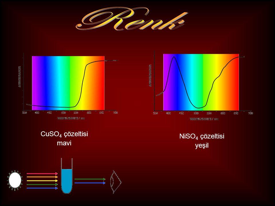 CuSO 4 çözeltisi mavi NiSO 4 çözeltisi yeşil