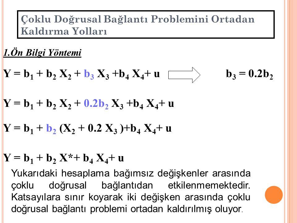 Çoklu Doğrusal Bağlantı Otomobil Bakım Harcamaları Model Tahminleri DeğişkenlerModel AModel BModel C Sabit Yas Km s.d.