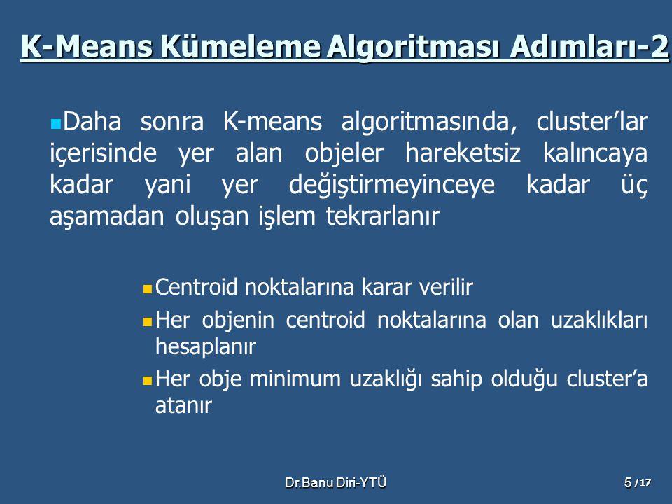 Dr.Banu Diri-YTÜ5 Daha sonra K-means algoritmasında, cluster'lar içerisinde yer alan objeler hareketsiz kalıncaya kadar yani yer değiştirmeyinceye kadar üç aşamadan oluşan işlem tekrarlanır Centroid noktalarına karar verilir Her objenin centroid noktalarına olan uzaklıkları hesaplanır Her obje minimum uzaklığı sahip olduğu cluster'a atanır K-Means Kümeleme Algoritması Adımları-2 /17
