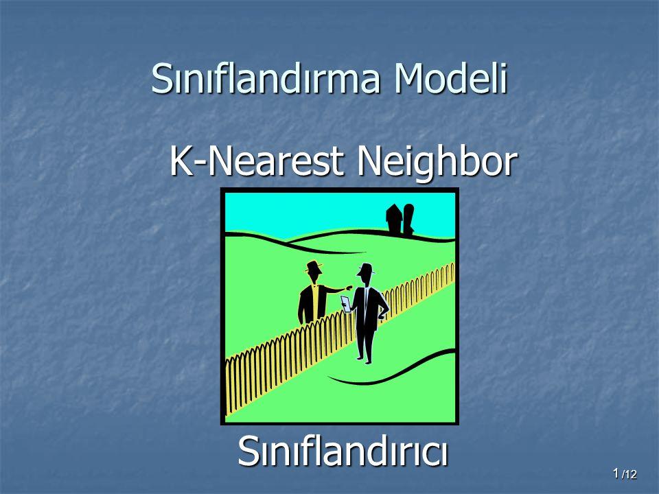 1 Sınıflandırma Modeli K-Nearest Neighbor Sınıflandırıcı /12