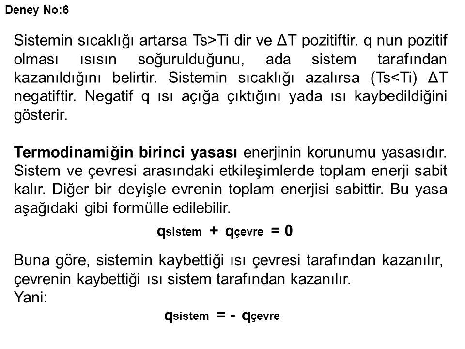 Deney No:6 Sistemin sıcaklığı artarsa Ts>Ti dir ve ΔT pozitiftir. q nun pozitif olması ısısın soğurulduğunu, ada sistem tarafından kazanıldığını belir