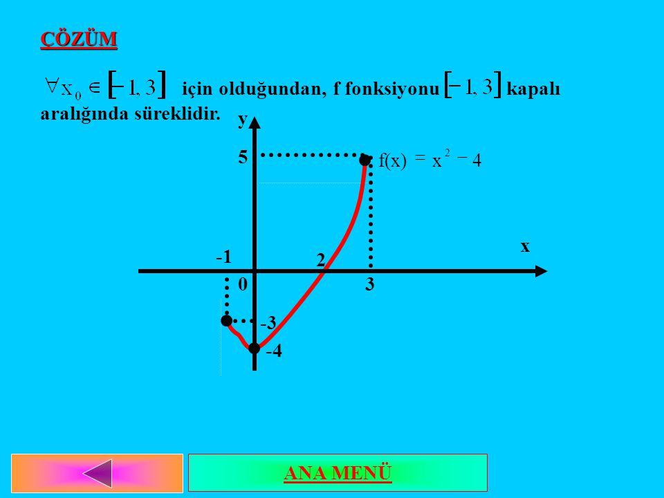 ÇÖZÜM için olduğundan, f fonksiyonu kapalı aralığında süreklidir. x y 5 3 2 -3 -4 0 4xf(x) 2  ANA MENÜ