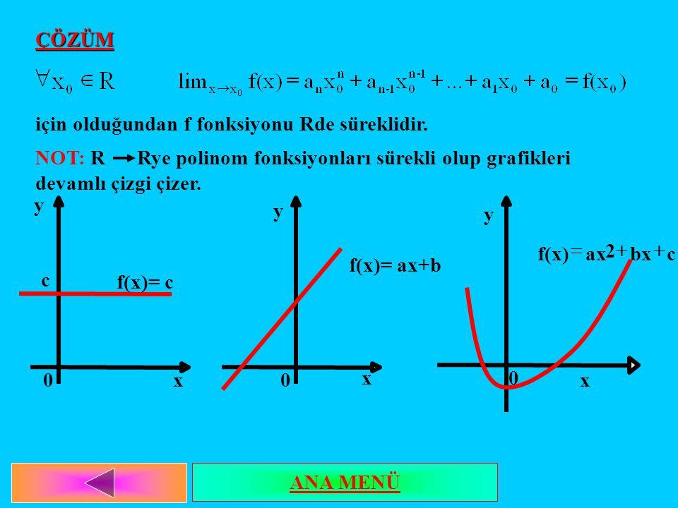 ÇÖZÜM için olduğundan f fonksiyonu Rde süreklidir. NOT: R Rye polinom fonksiyonları sürekli olup grafikleri devamlı çizgi çizer. f(x)= c c y x0 y x 0