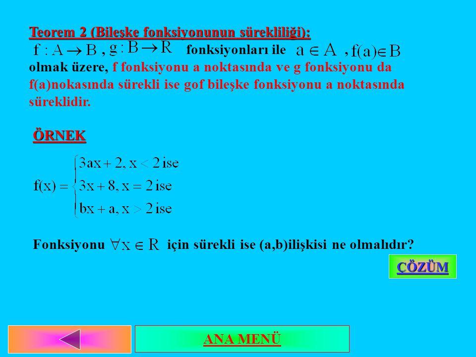 Teorem 2 (Bileşke fonksiyonunun sürekliliği):, fonksiyonları ile, olmak üzere, f fonksiyonu a noktasında ve g fonksiyonu da f(a)nokasında sürekli ise gof bileşke fonksiyonu a noktasında süreklidir.ÖRNEK Fonksiyonu için sürekli ise (a,b)ilişkisi ne olmalıdır.