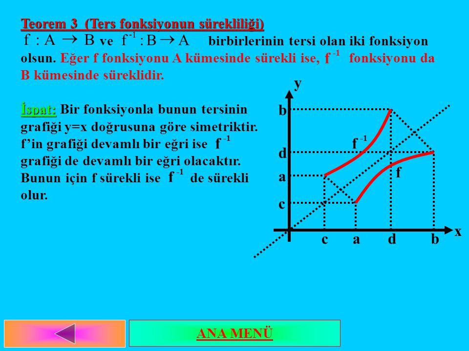 Teorem 3 (Ters fonksiyonun sürekliliği) ve birbirlerinin tersi olan iki fonksiyon olsun. Eğer f fonksiyonu A kümesinde sürekli ise, fonksiyonu da B kü