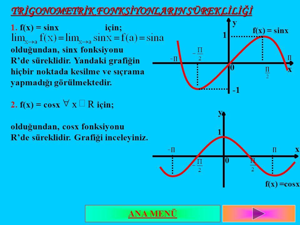 TRİGONOMETRİK FONKSİYONLARIN SÜREKLİLİĞİ 1. f(x) = sinx için; olduğundan, sinx fonksiyonu R'de süreklidir. Yandaki grafiğin hiçbir noktada kesilme ve