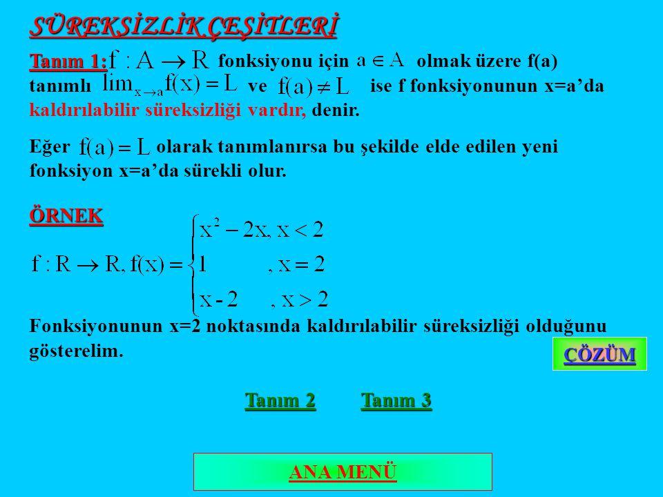 SÜREKSİZLİK ÇEŞİTLERİ Tanım 1: Tanım 1: fonksiyonu için olmak üzere f(a) tanımlı ve ise f fonksiyonunun x=a'da kaldırılabilir süreksizliği vardır, denir.