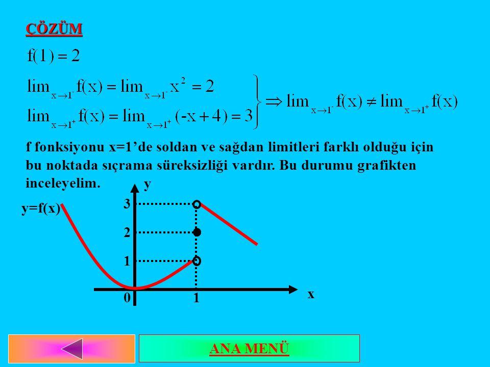 ÇÖZÜM f fonksiyonu x=1'de soldan ve sağdan limitleri farklı olduğu için bu noktada sıçrama süreksizliği vardır. Bu durumu grafikten inceleyelim. 3 2 1