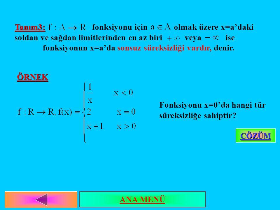 Tanım3: Tanım3: fonksiyonu için olmak üzere x=a'daki soldan ve sağdan limitlerinden en az biri veya ise fonksiyonun x=a'da sonsuz süreksizliği vardır, denir.ÖRNEK Fonksiyonu x=0'da hangi tür süreksizliğe sahiptir.