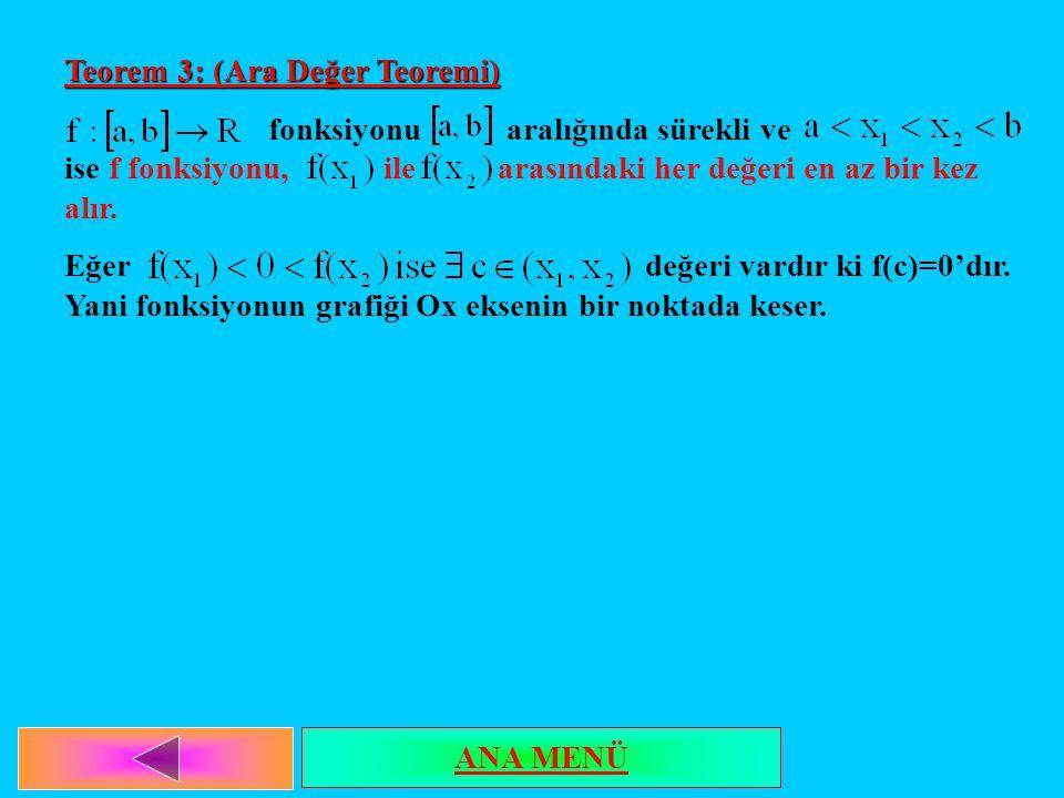 Teorem 3: (Ara Değer Teoremi) fonksiyonu aralığında sürekli ve ise f fonksiyonu, ile arasındaki her değeri en az bir kez alır. Eğer değeri vardır ki f