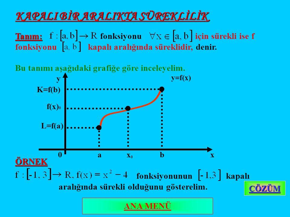 KAPALI BİR ARALIKTA SÜREKLİLİK Tanım: Tanım: fonksiyonu için sürekli ise f fonksiyonu kapalı aralığında süreklidir, denir.
