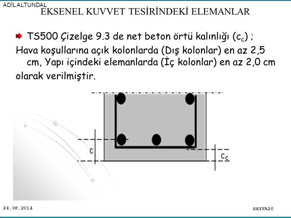 24.08.2014 TS500 Çizelge 9.3 de net beton örtü kalınlığı (c c ) ; Hava koşullarına açık kolonlarda (Dış kolonlar) en az 2,5 cm, Yapı içindeki elemanla