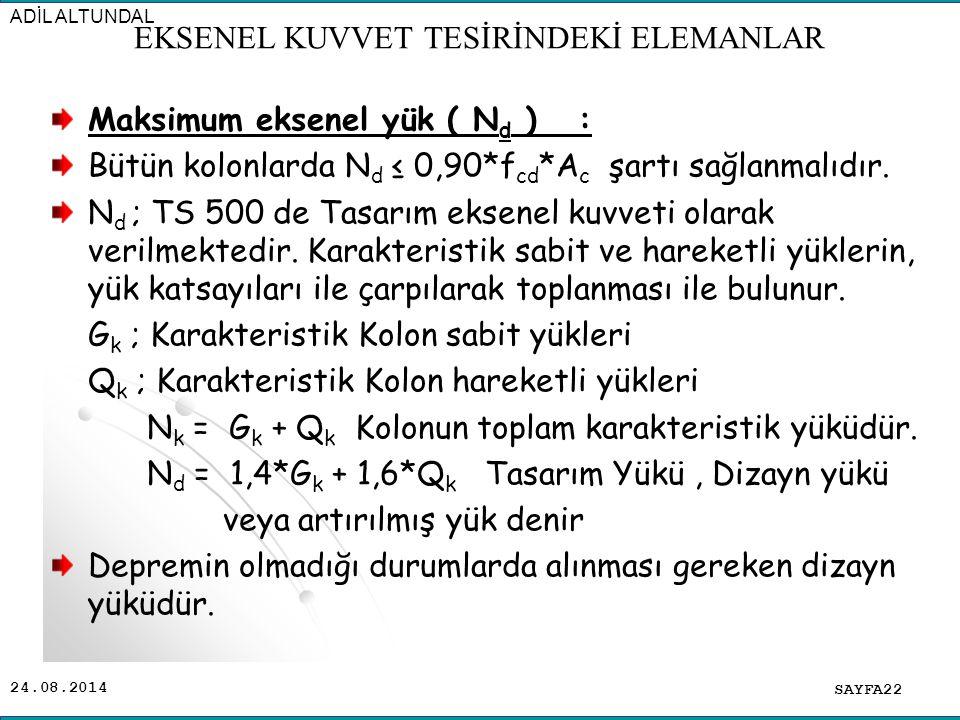24.08.2014 Maksimum eksenel yük ( N d ) : Bütün kolonlarda N d ≤ 0,90*f cd *A c şartı sağlanmalıdır. N d ; TS 500 de Tasarım eksenel kuvveti olarak ve
