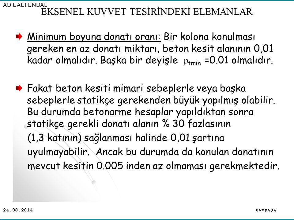 24.08.2014 Minimum boyuna donatı oranı: Bir kolona konulması gereken en az donatı miktarı, beton kesit alanının 0,01 kadar olmalıdır. Başka bir deyişl