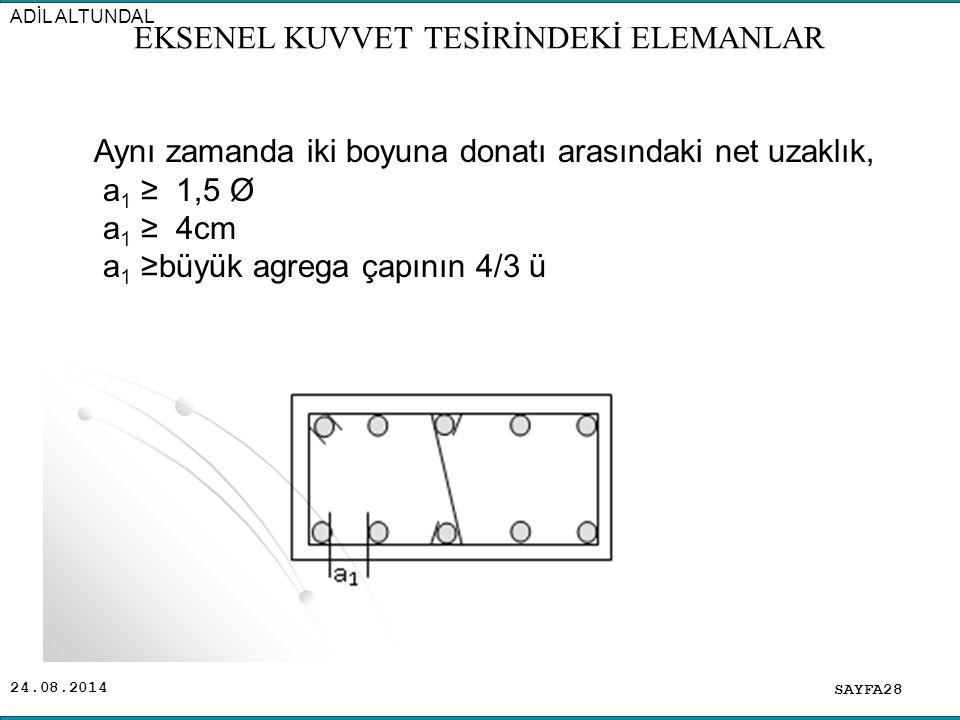 24.08.2014 SAYFA28 ADİL ALTUNDAL EKSENEL KUVVET TESİRİNDEKİ ELEMANLAR Aynı zamanda iki boyuna donatı arasındaki net uzaklık, a 1 ≥ 1,5 Ø a 1 ≥ 4cm a 1