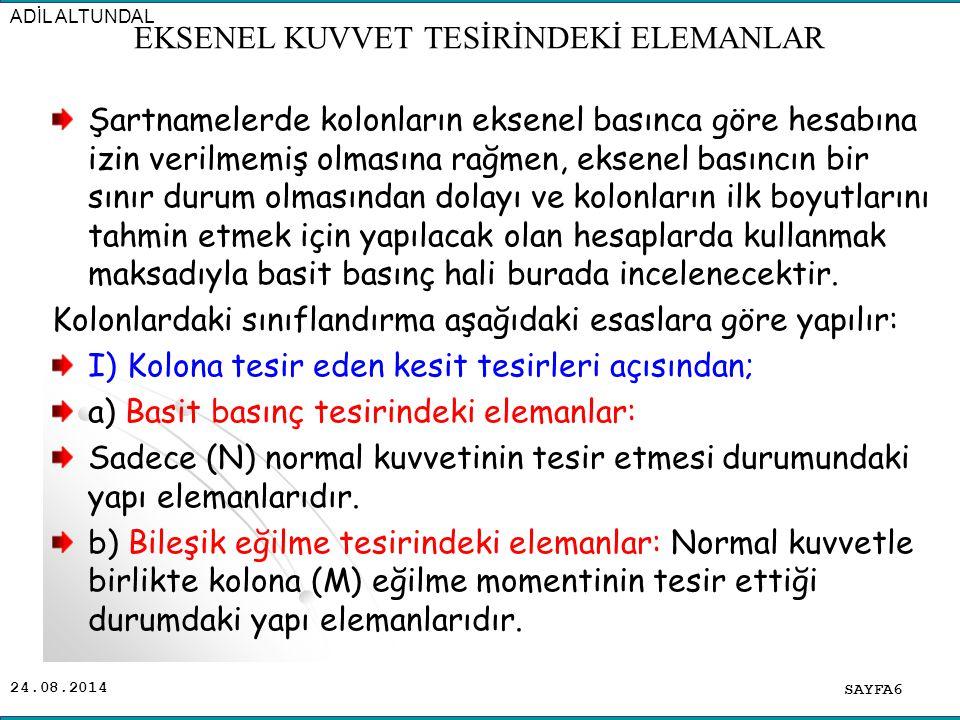 24.08.2014 Şartnamelerde kolonların eksenel basınca göre hesabına izin verilmemiş olmasına rağmen, eksenel basıncın bir sınır durum olmasından dolayı