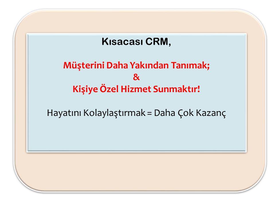Kısacası CRM, Müşterini Daha Yakından Tanımak; & Kişiye Özel Hizmet Sunmaktır! Hayatını Kolaylaştırmak = Daha Çok Kazanç Kısacası CRM, Müşterini Daha
