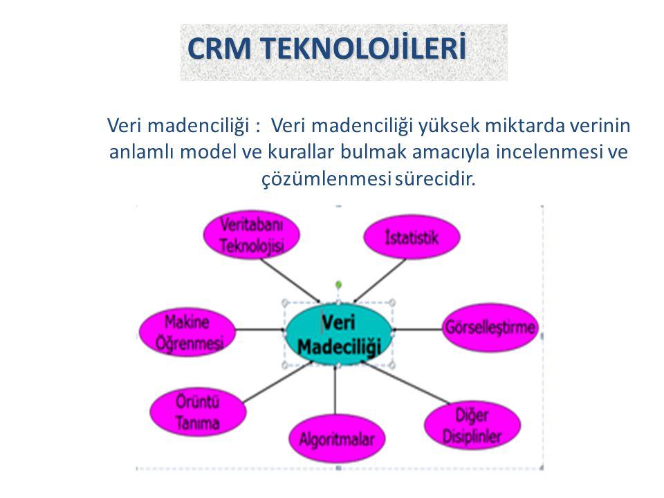Veri madenciliği : Veri madenciliği yüksek miktarda verinin anlamlı model ve kurallar bulmak amacıyla incelenmesi ve çözümlenmesi sürecidir. CRM TEKNO