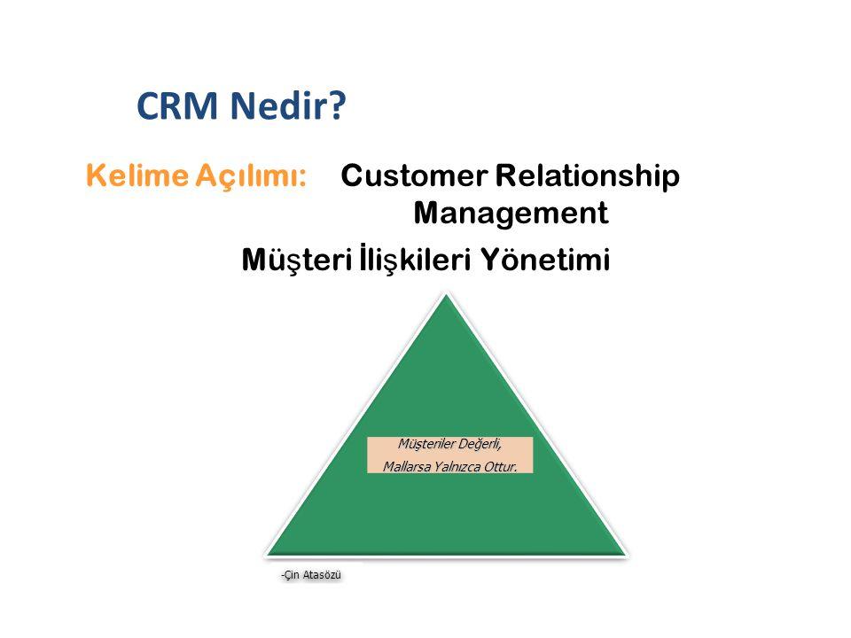 Kelime Açılımı: Customer Relationship Management Mü ş teri İ li ş kileri Yönetimi Müşteriler Değerli, Mallarsa Yalnızca Ottur. Müşteriler Değerli, Mal