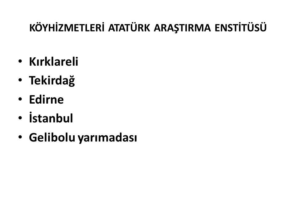KÖYHİZMETLERİ ATATÜRK ARAŞTIRMA ENSTİTÜSÜ Kırklareli Tekirdağ Edirne İstanbul Gelibolu yarımadası