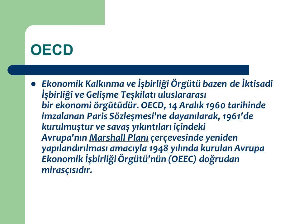 OECD Ekonomik Kalkınma ve İşbirliği Örgütü bazen de İktisadi İşbirliği ve Gelişme Teşkilatı uluslararası bir ekonomi örgütüdür. OECD, 14 Aralık 1960 t