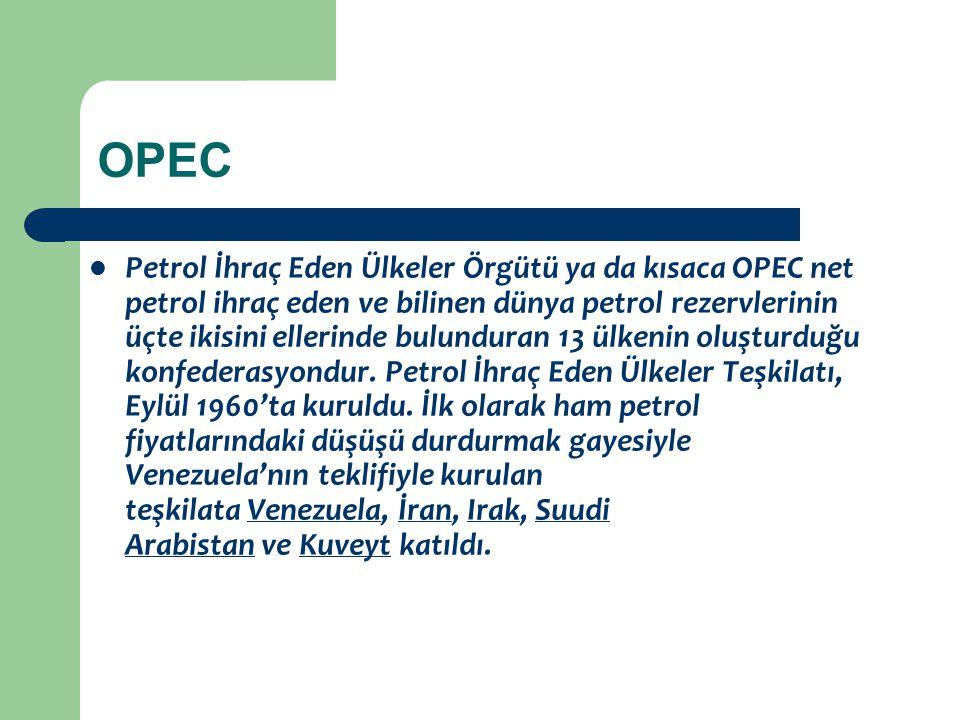 OPEC Petrol İhraç Eden Ülkeler Örgütü ya da kısaca OPEC net petrol ihraç eden ve bilinen dünya petrol rezervlerinin üçte ikisini ellerinde bulunduran
