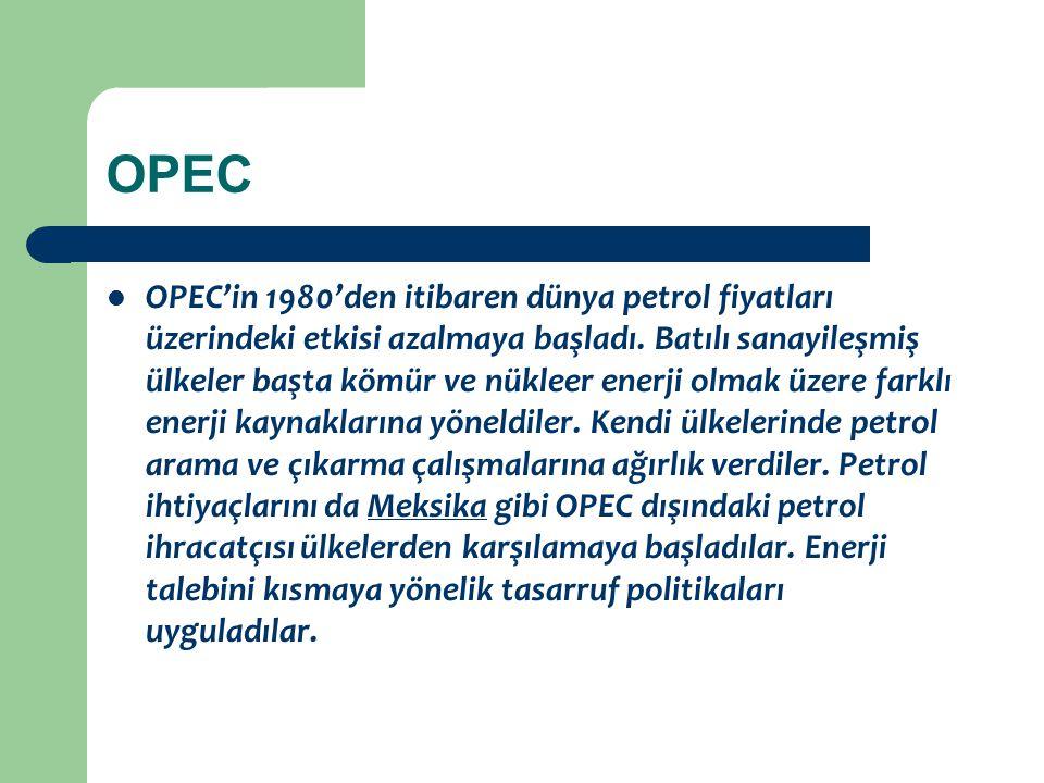 OPEC OPEC'in 1980'den itibaren dünya petrol fiyatları üzerindeki etkisi azalmaya başladı. Batılı sanayileşmiş ülkeler başta kömür ve nükleer enerji ol