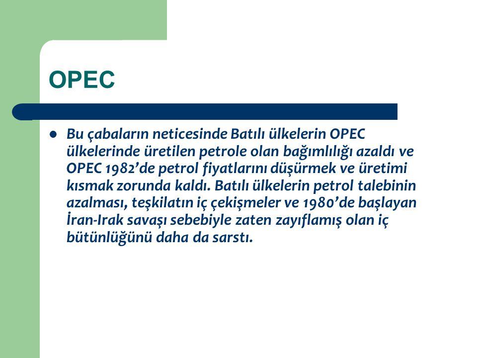 OPEC Bu çabaların neticesinde Batılı ülkelerin OPEC ülkelerinde üretilen petrole olan bağımlılığı azaldı ve OPEC 1982'de petrol fiyatlarını düşürmek v
