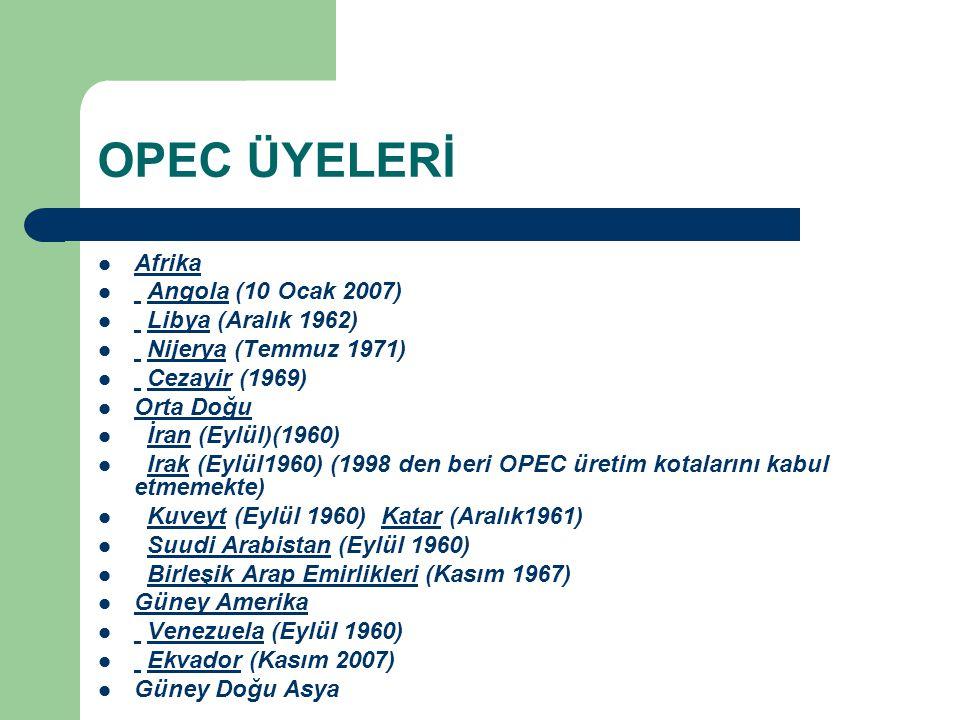 OPEC ÜYELERİ Endonezya (Aralık 1962)Üyeliği görüşme altında çünkü Endenozya OPEC tarafından artık net petrol ihracatçısı olarak kabul edilmemekte.Endonezya Eski Üyeler Gabon (bütün üyelik 1975 den 1995 e kadar) Gabon Üyeliği Beklenenler Bolivya Meksika Sudan ve Suriye OPEC e katılmaya davet edildiler.[1] Bolivya MeksikaSudanSuriye[1] Sudan ve Ekvador halih azırda üyelik arıyorlar.[1]Sudan Ekvador[1]