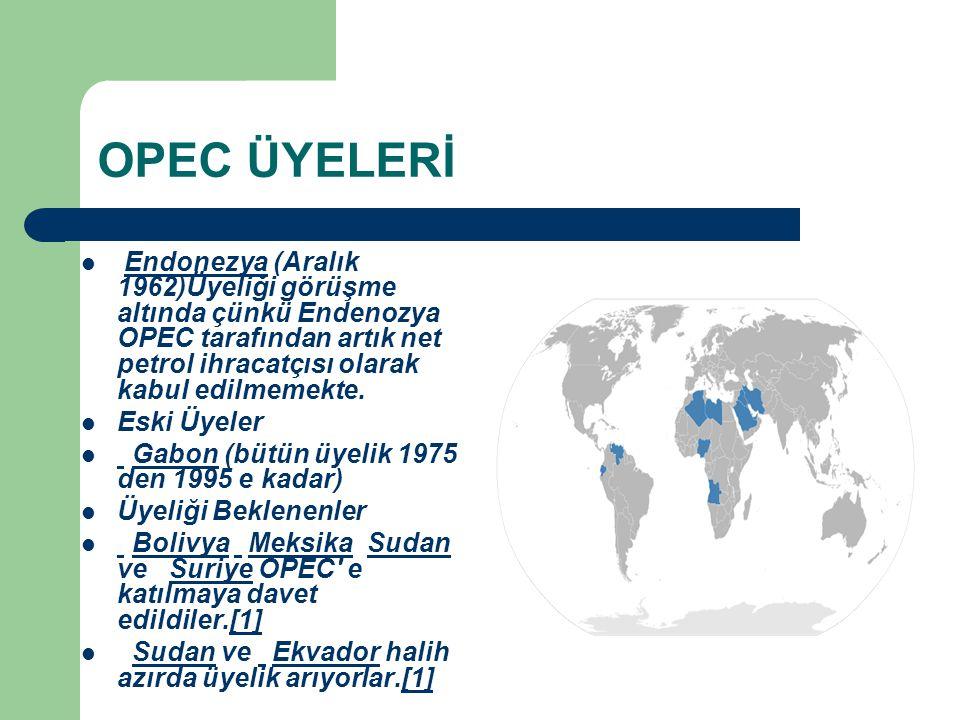 OPEC ÜYELERİ Endonezya (Aralık 1962)Üyeliği görüşme altında çünkü Endenozya OPEC tarafından artık net petrol ihracatçısı olarak kabul edilmemekte.Endo