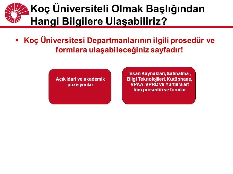  Koç Üniversitesi Departmanlarının ilgili prosedür ve formlara ulaşabileceğiniz sayfadır! Koç Üniversiteli Olmak Başlığından Hangi Bilgilere Ulaşabil