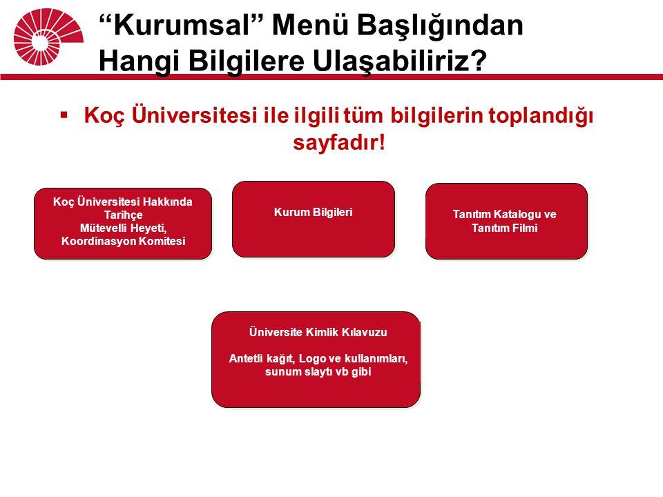 """ Koç Üniversitesi ile ilgili tüm bilgilerin toplandığı sayfadır! """"Kurumsal"""" Menü Başlığından Hangi Bilgilere Ulaşabiliriz? Koç Üniversitesi Hakkında"""