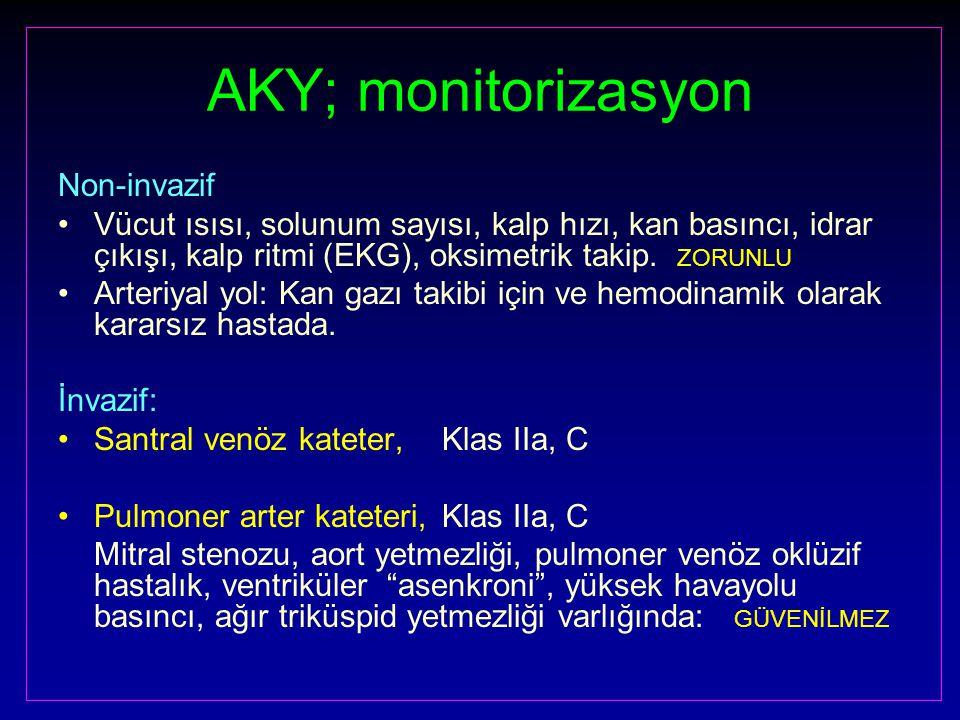 AKY; monitorizasyon Non-invazif Vücut ısısı, solunum sayısı, kalp hızı, kan basıncı, idrar çıkışı, kalp ritmi (EKG), oksimetrik takip.