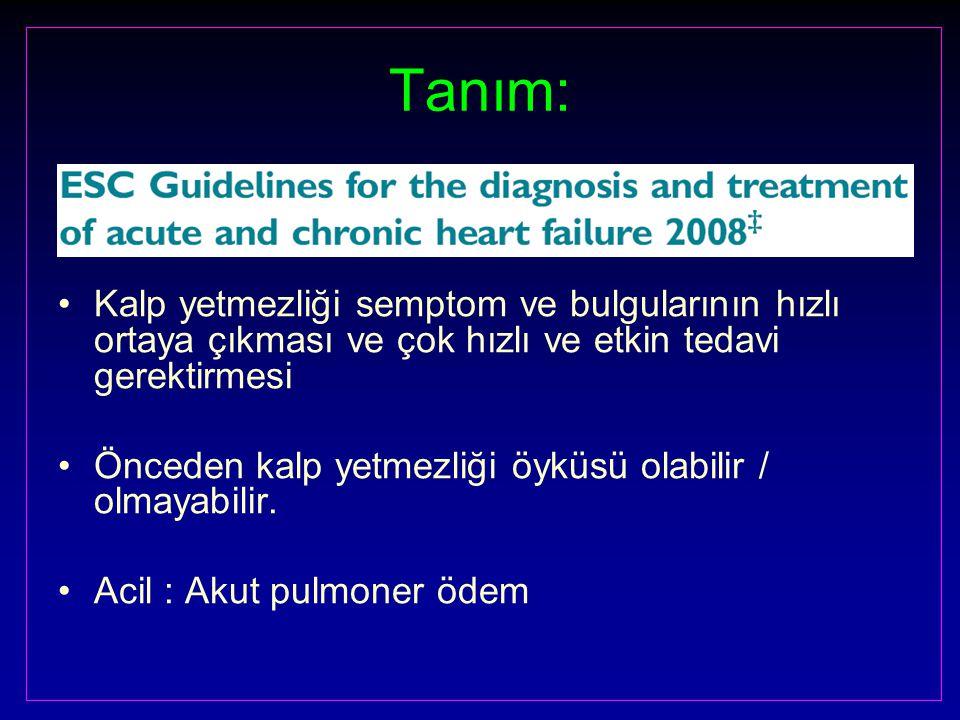 Tanım: Kalp yetmezliği semptom ve bulgularının hızlı ortaya çıkması ve çok hızlı ve etkin tedavi gerektirmesi Önceden kalp yetmezliği öyküsü olabilir / olmayabilir.