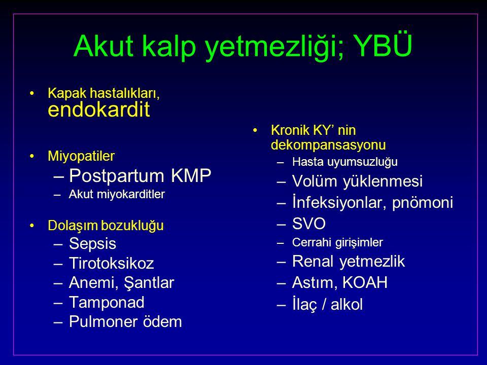 Akut kalp yetmezliği; YBÜ Kapak hastalıkları, endokardit Miyopatiler –Postpartum KMP –Akut miyokarditler Dolaşım bozukluğu –Sepsis –Tirotoksikoz –Anemi, Şantlar –Tamponad –Pulmoner ödem Kronik KY' nin dekompansasyonu –Hasta uyumsuzluğu –Volüm yüklenmesi –İnfeksiyonlar, pnömoni –SVO –Cerrahi girişimler –Renal yetmezlik –Astım, KOAH –İlaç / alkol