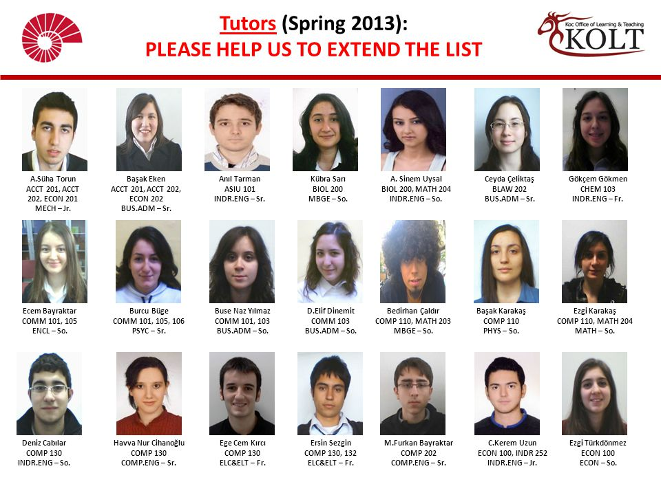 Tutors (Spring 2013): PLEASE HELP US TO EXTEND THE LIST A.Süha Torun ACCT 201, ACCT 202, ECON 201 MECH – Jr. Başak Eken ACCT 201, ACCT 202, ECON 202 B