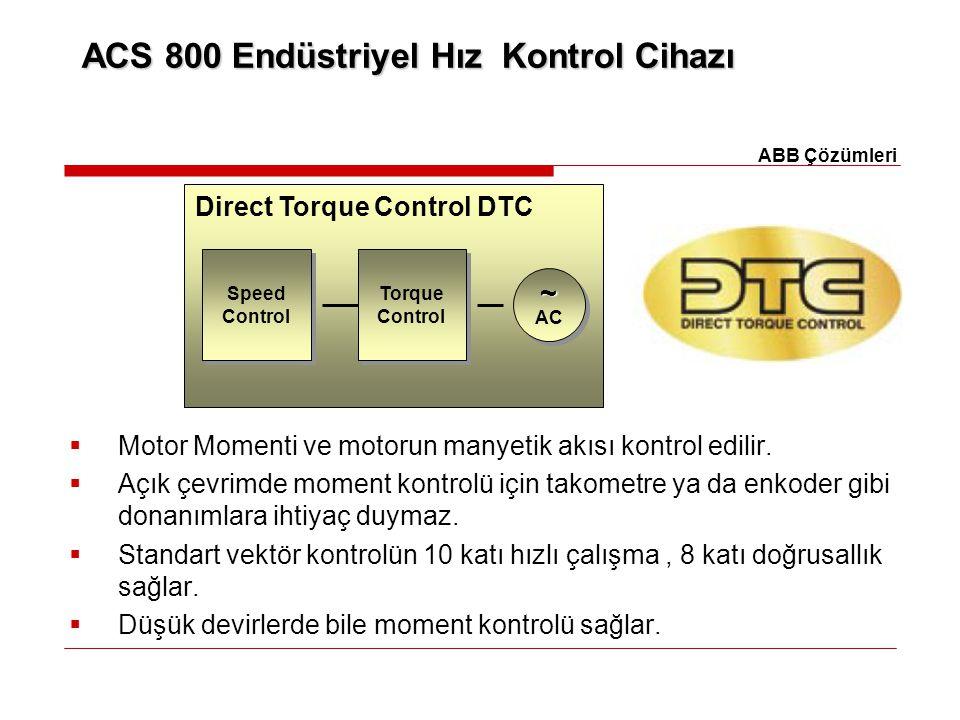 ACS 800 Endüstriyel Hız Kontrol Cihazı  Motor Momenti ve motorun manyetik akısı kontrol edilir.  Açık çevrimde moment kontrolü için takometre ya da