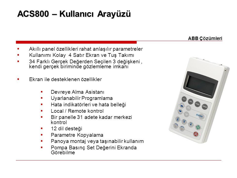 ACS800 – Kullanıcı Arayüzü  Akıllı panel özellikleri rahat anlaşılır parametreler  Kullanımı Kolay 4 Satır Ekran ve Tuş Takımı  34 Farklı Gerçek De