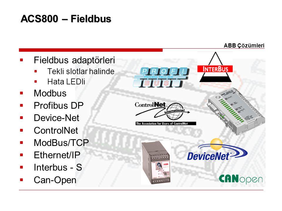 ACS800 – Fieldbus  Fieldbus adaptörleri  Tekli slotlar halinde  Hata LEDli  Modbus  Profibus DP  Device-Net  ControlNet  ModBus/TCP  Ethernet