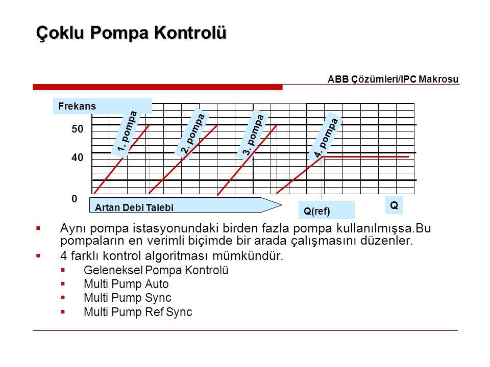 Çoklu Pompa Kontrolü  Aynı pompa istasyonundaki birden fazla pompa kullanılmışsa.Bu pompaların en verimli biçimde bir arada çalışmasını düzenler.  4