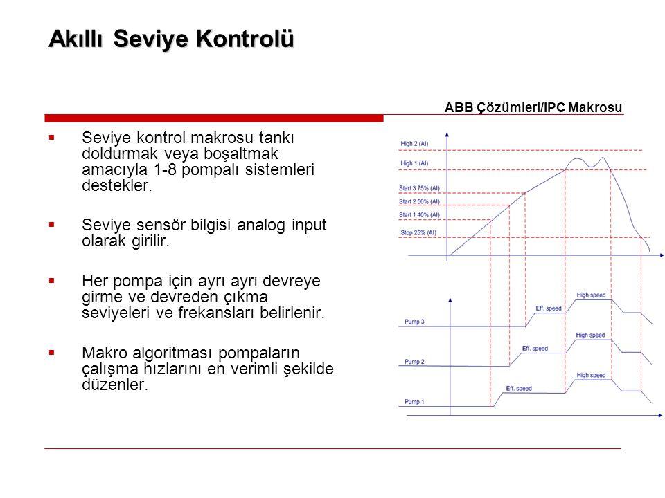  Seviye kontrol makrosu tankı doldurmak veya boşaltmak amacıyla 1-8 pompalı sistemleri destekler.  Seviye sensör bilgisi analog input olarak girilir