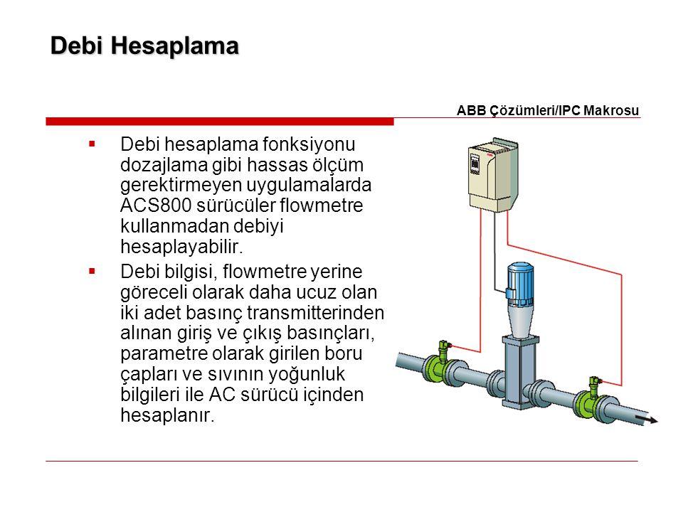 Debi Hesaplama  Debi hesaplama fonksiyonu dozajlama gibi hassas ölçüm gerektirmeyen uygulamalarda ACS800 sürücüler flowmetre kullanmadan debiyi hesap