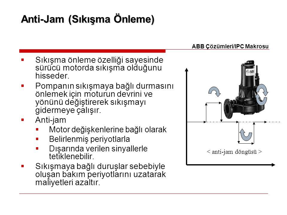 Anti-Jam (Sıkışma Önleme)  Sıkışma önleme özelliği sayesinde sürücü motorda sıkışma olduğunu hisseder.  Pompanın sıkışmaya bağlı durmasını önlemek i
