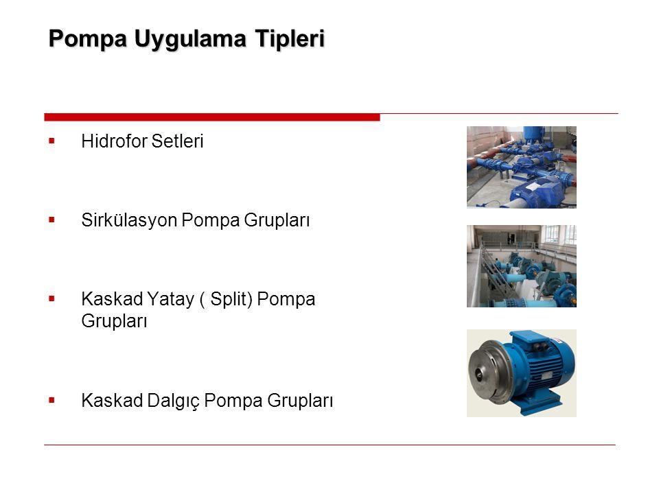 Pompa Uygulama Tipleri  Hidrofor Setleri  Sirkülasyon Pompa Grupları  Kaskad Yatay ( Split) Pompa Grupları  Kaskad Dalgıç Pompa Grupları