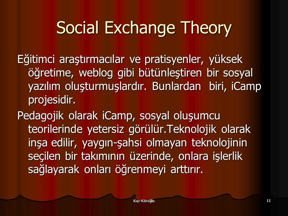 Kuz-Köroğlu 11 Social Exchange Theory Eğitimci araştırmacılar ve pratisyenler, yüksek öğretime, weblog gibi bütünleştiren bir sosyal yazılım oluşturmuşlardır.