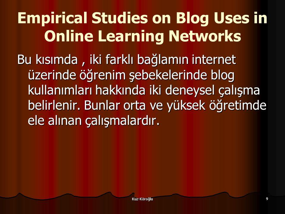 Kuz-Köroğlu 9 Empirical Studies on Blog Uses in Online Learning Networks Bu kısımda, iki farklı bağlamın internet üzerinde öğrenim şebekelerinde blog kullanımları hakkında iki deneysel çalışma belirlenir.