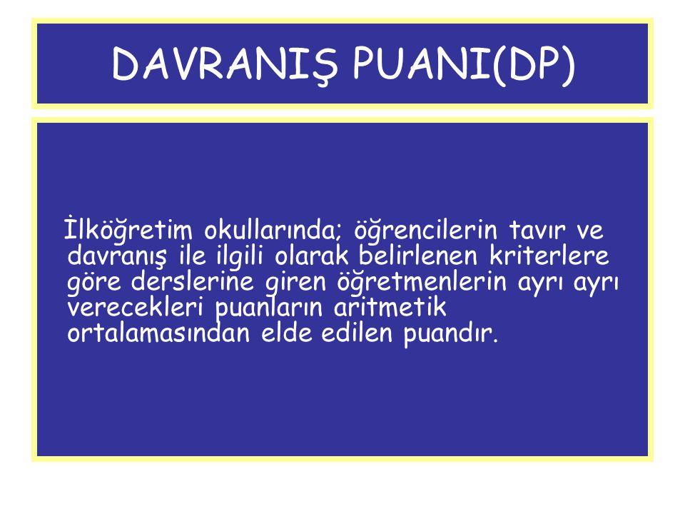 DAVRANIŞ PUANI(DP) İlköğretim okullarında; öğrencilerin tavır ve davranış ile ilgili olarak belirlenen kriterlere göre derslerine giren öğretmenlerin